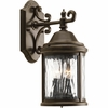 Progress Lighting Ashmore Collection (P5649-20) Traditional/Casual 2 Light Outdoor Wall Lantern shown in Antique Bronze with Water Seeded Glass