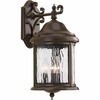 Progress Lighting Ashmore Collection (P5650-20) Traditional/Casual 3 Light Outdoor Wall Lantern shown in Antique Bronze with Water Seeded Glass