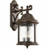 Progress Lighting Ashmore Collection (P5651-20) Traditional/Casual 3 Light Outdoor Wall Lantern shown in Antique Bronze with Water Seeded Glass
