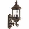 Progress Lighting Ashmore Collection (P5652-20) Traditional/Casual 3 Light Outdoor Wall Lantern shown in Antique Bronze with Water Seeded Glass