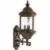 Progress Lighting Ashmore Collection (P5653-20) Traditional/Casual 3 Light Outdoor Wall Lantern shown in Antique Bronze with Water Seeded Glass