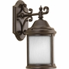 Progress Lighting Ashmore Collection (P5874-20WB) Traditional/Casual 1 Light Outdoor CFL Wall Lantern shown in Antique Bronze with Etched, Water Seeded Glass