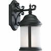 Progress Lighting Ashmore Collection (P5874-31WB) Traditional/Casual 1 Light Outdoor CFL Wall Lantern shown in Black with Etched, Water Seeded Glass