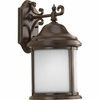 Progress Lighting Ashmore Collection (P5875-20WB) Traditional/Casual 1 Light Outdoor CFL Wall Lantern shown in Antique Bronze with Etched, Water Seeded Glass