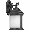 Progress Lighting Ashmore Collection (P5875-31WB) Traditional/Casual 1 Light Outdoor CFL Wall Lantern shown in Black with Etched, Water Seeded Glass