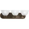 Progress Lighting Avalon Collection (P3268-20) Traditional/Casual 3 Light Bath Bracket shown in Antique Bronze with Alabaster Glass