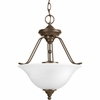 Progress Lighting Avalon Collection (P3467-20) Traditional/Casual 3 Light Close-To-Ceiling Fixture shown in Antique Bronze with Alabaster Glass