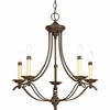 Progress Lighting Avalon Collection (P4057-20) Traditional/Casual 5 Light Chandelier shown in Antique Bronze with Ivory Finish Candle Sleeves