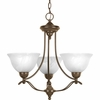 Progress Lighting Avalon Collection (P4067-20) Traditional/Casual 3 Light Chandelier shown in Antique Bronze with Alabaster Glass
