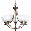 Progress Lighting Avalon Collection (P4068-20) Traditional/Casual 5 Light Chandelier shown in Antique Bronze with Alabaster Glass