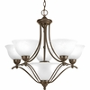 Progress Lighting Avalon Collection (P4069-20) Traditional/Casual 5 Light Chandelier shown in Antique Bronze with Alabaster Glass