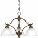 Progress Lighting Avalon Collection (P4070-20) Traditional/Casual 3 Light Chandelier shown in Antique Bronze with Alabaster Glass