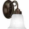 Progress Lighting Bedford Collection (P3367-20) Traditional/Casual 1 Light Bath Bracket shown in Antique Bronze with Etched Alabaster Glass