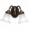 Progress Lighting Bedford Collection (P3368-20) Traditional/Classic 2 Light Bath Fixture shown in Antique Bronze with Etched Alabaster Glass