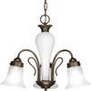 Progress Lighting Bedford Collection (P4390-20) Traditional/Casual 3 Light Chandelier shown in Antique Bronze with Etched Alabaster Glass
