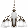 Progress Lighting Bedford Collection (P4391-20) Traditional/Casual 5 Light Chandelier shown in Antique Bronze with Etched Alabaster Glass