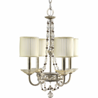 Thomasville Lighting Chanelle Collection (P4442-34) Traditional/Formal 4 Light Chandelier shown in Antique Silver with Matching Hand Painted Candle Sleeves Glass