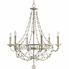 Thomasville Lighting Chanelle Collection (P4443-34) Traditional/Formal 6 Light Chandelier shown in Antique Silver with Matching Hand Painted Candle Sleeves Glass