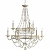 Thomasville Lighting Chanelle Collection (P4444-34) Traditional/Formal 9 Light Chandelier shown in Antique Silver with Matching Hand Painted Candle Sleeves Glass