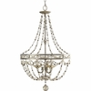 Thomasville Lighting Chanelle Collection (P3825-34) Traditional/Formal 3 Light Foyer Fixture shown in Antique Silver with Matching Hand Painted Candle Sleeves Glass