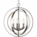 Thomasville Lighting Equinox Collection (P3827-126) Traditional/Classic 4 Light Foyer Fixture shown in Burnished Silver with Matching Candle Sleeves Glass