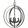Thomasville Lighting Equinox Collection (P3827-20) Traditional/Classic 4 Light Foyer Fixture shown in Antique Bronze with Matching Candle Sleeves