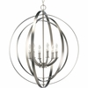 Thomasville Lighting Equinox Collection (P3889-126) Traditional/Classic 6 Light Foyer Fixture shown in Burnished Silver with Matching Candle Sleeves Glass