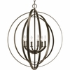 Thomasville Lighting Equinox Collection (P3889-20) Traditional/Classic 6 Light Foyer Fixture shown in Antique Bronze with Matching Candle Sleeves