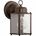Progress Lighting Flat Glass Lantern Collection (P5607-20) 1 Light Outdoor Wall Lantern shown in Antique Bronze with Clear Flat Glass