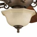 Thomasville Lighting Guildhall Collection (P2639-102) Traditional/Casual 3 Light Ceiling Fan shown in Roasted Java with Jasmine Mist Glass