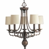 Thomasville Lighting Meeting Street Collection (P4566-102) Traditional/Casual 5 Light Chandelier shown in Roasted Java with Ecru Linen Shade