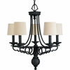 Thomasville Lighting Meeting Street Collection (P4566-80) Traditional/Casual 5 Light Chandelier shown in Forged Black with Ecru Linen