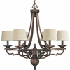 Thomasville Lighting Meeting Street Collection (P4567-102) Traditional/Casual 6 Light Chandelier shown in Roasted Java with Ecru Linen