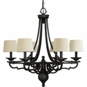 Thomasville Lighting Meeting Street Collection (P4567-80) Traditional/Casual 6 Light Chandelier shown in Forged Black with Ecru Linen