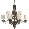 Thomasville Lighting Meeting Street Collection (P4568-102) Traditional/Casual 9 Light Chandelier shown in Roasted Java with Ecru Linen Shade