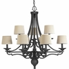 Thomasville Lighting Meeting Street Collection (P4568-80) Traditional/Casual 9 Light Chandelier shown in Forged Black with Ecru Linen Shade