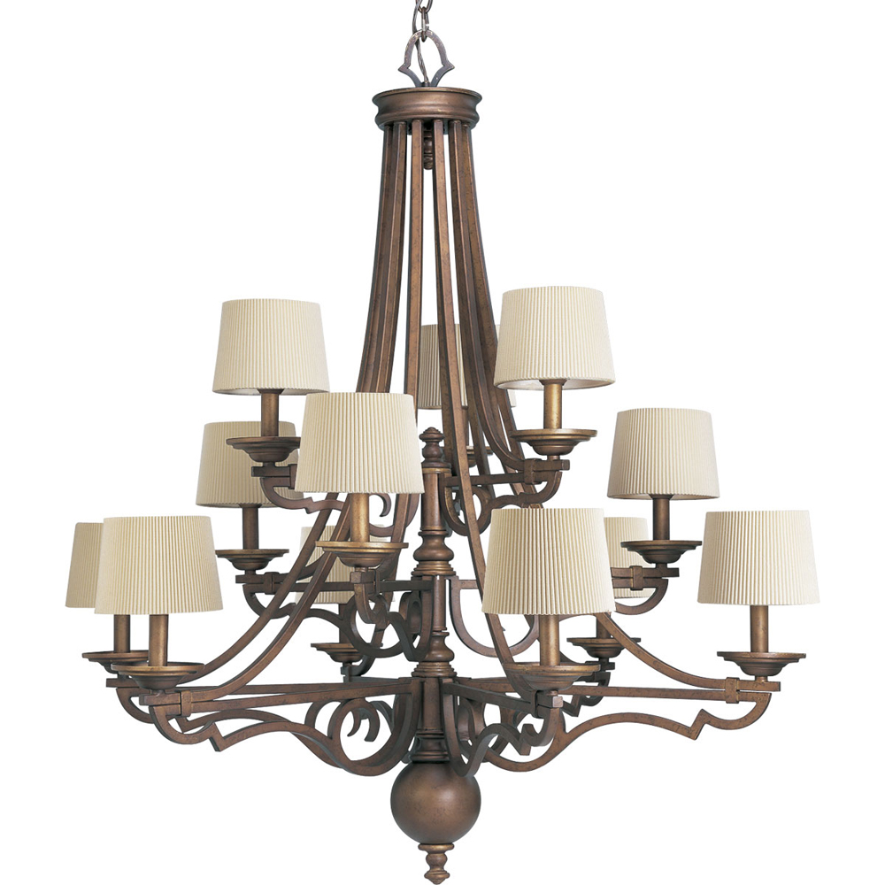 Thomasville Lighting Meeting Street Collection (P4569-102) Traditional/Casual 12 Light Chandelier shown in Roasted Java with Ecru Linen Shade