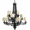 Thomasville Lighting Meeting Street Collection (P4569-80) Traditional/Casual 12 Light Chandelier shown in Forged Black with Ecru Linen Shade
