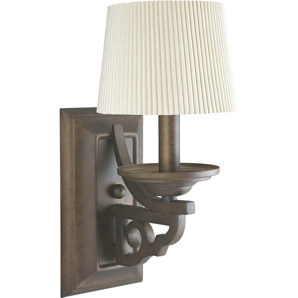 Thomasville Lighting Meeting Street Collection (P2744-102) Traditional/Casual 1 Light Wall Bracket shown in Roasted Java with Ecru Linen Shade