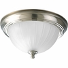Progress Lighting Melon Glass Collection (P3816-09EB) 1 Light Close-To-Ceiling Fixture shown in Brushed Nickel with Etched Ribbed Glass