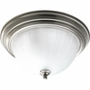 Progress Lighting Melon Glass Collection (P3817-09EB) 2 Light Close-To-Ceiling Fixture shown in Brushed Nickel with Etched Ribbed Glass
