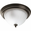 Progress Lighting Melon Glass Collection (P3817-20EB) 2 Light Close-To-Ceiling Fixture shown in Antique Bronze with Etched Ribbed Glass