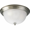Progress Lighting Melon Glass Collection (P3818-09EB) Traditional/Classic 3 Light Close-To-Ceiling Fixture shown in Brushed Nickel with Etched Ribbed Glass