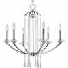 Thomasville Lighting Nisse Collection (P4139-104) Contemporary/Modern 6 Light Chandelier shown in Polished Nickel with K9 Glass Accents Glass