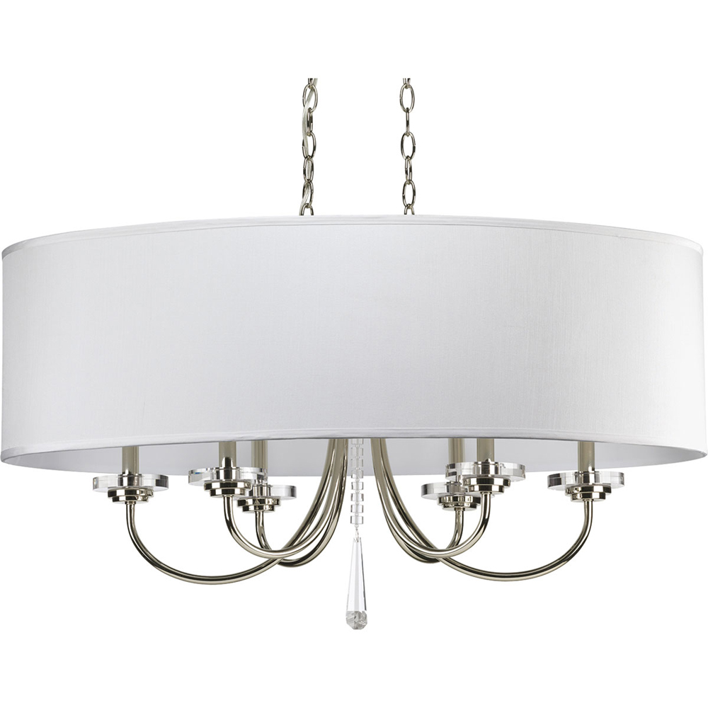 Thomasville Lighting Nisse Collection (P4431-104) Contemporary/Modern 6 Light Oval Chandelier shown in Polished Nickel with Off-White Silk Shade