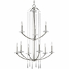 Thomasville Lighting Nisse Collection (P4538-104) Contemporary/Modern 9 Light Chandelier shown in Polished Nickel with K9 Glass Accents Glass