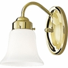 Progress Lighting Opal Glass Collection (P3373-10) Traditional/Classic 1 Light Bath Bracket shown in Polished Brass with White Opal Glass