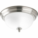 Progress Lighting (P3924-09ET) Melon 1 Light Flush Mount in Brushed Nickel