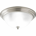 Progress Lighting (P3926-09ET) 3 Light Dome Shaped Flush Mount in Brushed Nickel