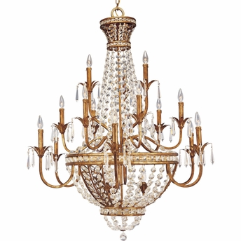 Thomasville Lighting Palais Collection (P4340-63) Traditional/Formal Eighteen-Light Chandelier shown in Imperial Gold with Faceted Glass